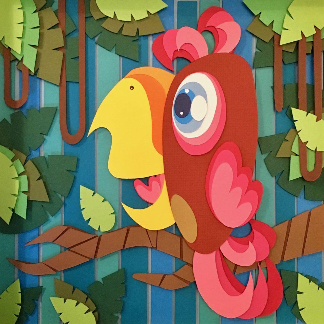 Studio Edo Rath Paper Art - Parrot 23 x 23 cm