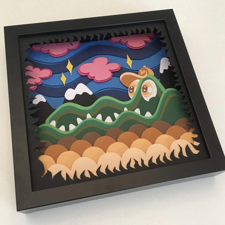 Studio Edo Rath Paper Art - Crocodile 23 x 23 cm