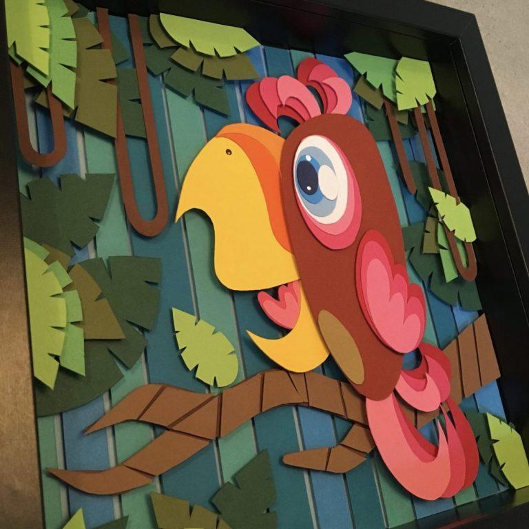 Studio Edo Rath Paper Art - Parrot 25 x 25 cm