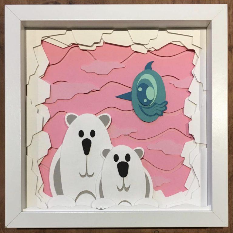 Studio Edo Rath Paper Art - Polar Bears 23 x 23 cm
