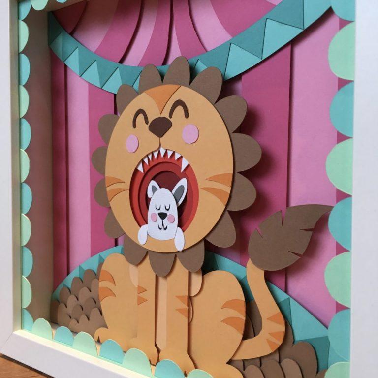 Studio Edo Rath Paper Art - Bunny Lion Circus 23 x 23 cm